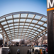 The Clarendon Station Metro stop between Wilson Blvd and Clarendon Blvd on N Highland St in the Clarendon neighborhood of Arlington, VA.