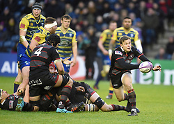Edinburgh's Nathan Fowles passes the ball from a ruck during the Challenge Cup, Quarter Final at BT Murrayfield, Edinburgh.
