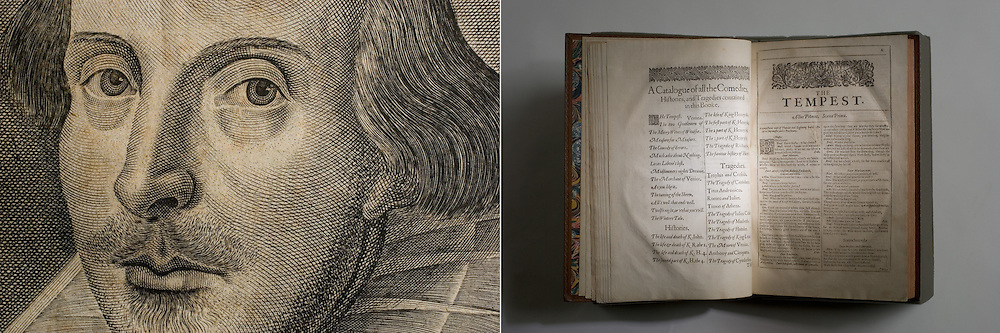 Shakespeare's Tempest book and detail. Stanford Archives