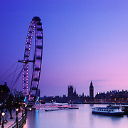 River Thames in London after sunset.