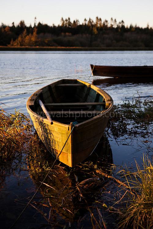 Slaney river cot, or handmade wooden estuary boat, Wexford, Ireland.