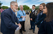 Henri Gadbois '48 and Leila Gadbois '43 chat with current students during a groundbreaking ceremony at Lamar High School, March 30, 2017.