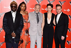 © Licensed to London News Pictures. 03/01/2018. London, UK. WILL.I.AM,  JENNIFER HUDSON, SIR TOM JONES, EMMA WILLIS and  OLLIE MURS attend the Launch of The Voice UK 2018 press launch on ITV. Photo credit: Ray Tang/LNP