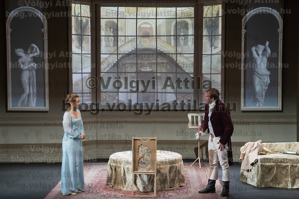 Moni Balsai (L) and Zoltan Schmied (R) perform during the dress rehearsal of Jane Austen's Pride and Prejudice directed by Karoly Ujj Meszaros in Budapest, Hungary on Sept. 26, 2018. ATTILA VOLGYI