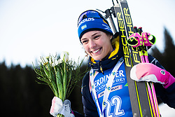 Hanna Oeberg (SWE) celebrates 2nd place after the Women 15 km Individual Competition at day 2 of IBU Biathlon World Cup 2019/20 Pokljuka, on January 23, 2020 in Rudno polje, Pokljuka, Pokljuka, Slovenia. Photo by Peter Podobnik / Sportida