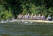 2Henley on Thames, England, United Kingdom, 3rd July 2019, Henley Royal Regatta, Heat of the Temple Challenge Trophy, Brown University, USA, move away from the start,  on Henley Reach, [© Peter SPURRIER/Intersport Image]<br /> <br /> 09:34:45 1919 - 2019, Royal Henley Peace Regatta Centenary,