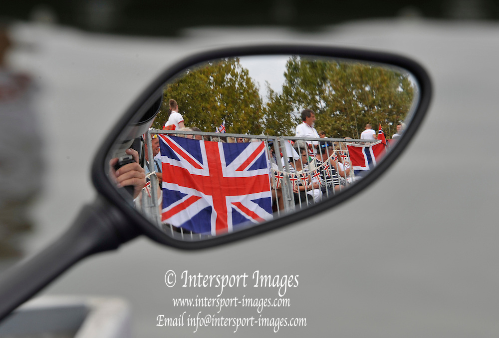 Varese,  ITALY. 2012 FISA European Championships, Lake Varese Regatta Course. ..Reflection of the Union Jack in the mirror of a parked Motorcycle..11:02:41  Sunday  16/09/2012.....[Mandatory Credit Peter Spurrier:  Intersport Images]  ..2012 European Rowing Championships; .File name; Rowing, European,  2012 010893.jpg.....