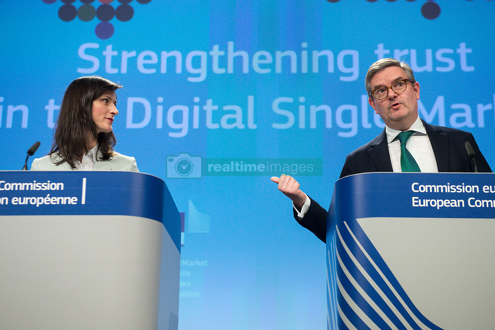April 26, 2018 - Brussels, Belgium - European Commissioner for Digital Economy and Society MARIYA GABRIEL (L) and JULIAN KING, European Commissioner for Security Union, British hold a press conference on the Commission initiatives to tackle the spread of disinformation online and to increase transparency and fairness between platforms and businesses. (Credit Image: © Wiktor Dabkowski via ZUMA Wire)