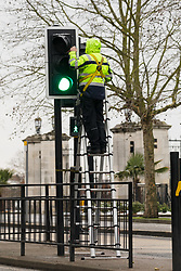 © Licensed to London News Pictures. 23/01/2019. London, UK.  An investigator checks traffic lights at the pedestrian crossing in Forest Road, Walthamstow opposite the Town Hall where a 21 year old woman following a collision with a police car responding to a 999 call last night.  Photo credit: Vickie Flores/LNP