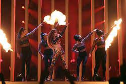 May 7, 2018 - Lisbon, Portugal - Singer Eleni Foureira of Cyprus performs during the Dress Rehearsal of the first Semi-Final of the 2018 Eurovision Song Contest, at the Altice Arena in Lisbon, Portugal on May 7, 2018. (Credit Image: © Pedro Fiuza/NurPhoto via ZUMA Press)