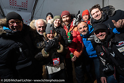 Seb Lorentz, Bertrand Dubet, Benedetto Zaccherini, Simon Pitelet, Sean Lichter, Fred Billon and Yaroslav Tatarinov at the wrap party on the ice after the Baikal Mile Ice Speed Festival. Maksimiha, Siberia, Russia. Saturday, February 29, 2020. Photography ©2020 Michael Lichter.