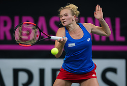 November 10, 2018 - Prague, Czech Republic - Katerina Siniakova of the Czech Republic in action at the 2018 Fed Cup Final between the Czech Republic and the United States of America (Credit Image: © AFP7 via ZUMA Wire)