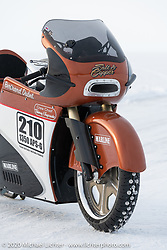 French custom bike builder Bertrand Dubet's partially streamlined Aprilia RSV4 racer at the Baikal Mile Ice Speed Festival. Maksimiha, Siberia, Russia. Wednesday, February 26, 2020. Photography ©2020 Michael Lichter.