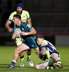 Josh Charnley of Sale Sharks tackles Alex Lewington of London Irish - Mandatory by-line: Matt McNulty/JMP - 15/09/2017 - RUGBY - AJ Bell Stadium - Sale, England - Sale Sharks v London Irish - Aviva Premiership
