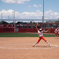 SJ Haines pitches for the Gallup Bengals during their NMAA Class 4A Softball State Championship game against the Artesia Bulldogs Saturday in Albuquerque.