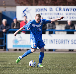 Montrose Garry Wood scoring their third goal. <br /> Montrose 3 v 1 Brora Rangers, Scottish League Two play-off second leg, today at Links Park, Montrose.