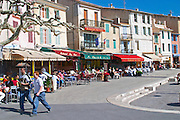 In the harbour in Cassis village.  Restaurants along the key side walk. Cassis Cote d'Azur Var France Bouches du Rhone
