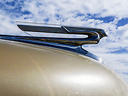 1950s Chevrolet Coupe vintage American car. close up of the grill and emblem