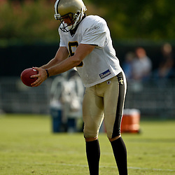 August 1, 2010; Metairie, LA, USA; New Orleans Saints punter Thomas Morstead (6) during a training camp practice at the New Orleans Saints practice facility. Mandatory Credit: Derick E. Hingle