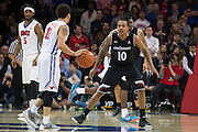 DALLAS, TX - JANUARY 7: Troy Caupain #10 of the Cincinnati Bearcats defends against the SMU Mustangs on January 7, 2016 at Moody Coliseum in Dallas, Texas.  (Photo by Cooper Neill/Getty Images) *** Local Caption *** Troy Caupain