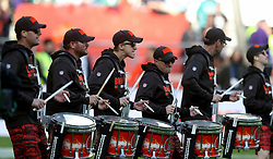 Drummers on the pitch in support of the Cleveland Browns at half-time in the International Series NFL match at Twickenham, London. PRESS ASSOCIATION Photo. Picture date: Sunday October 29, 2017. See PA story GRIDIRON London. Photo credit should read: Simon Cooper/PA Wire. RESTRICTIONS: News and Editorial use only. Commercial/Non-Editorial use requires prior written permission from the NFL. Digital use subject to reasonable number restriction and no video simulation of game.