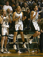 Cornwall's Emily Casey, Jackie Bailey and Danielle O'Rourke celebrate a basket in the final minutes of the state Class A semifinal game against Honeoye Falls-Lima at Hudson Valley Community College in Troy on March 14, 2008. Cornwall lost 42-39.