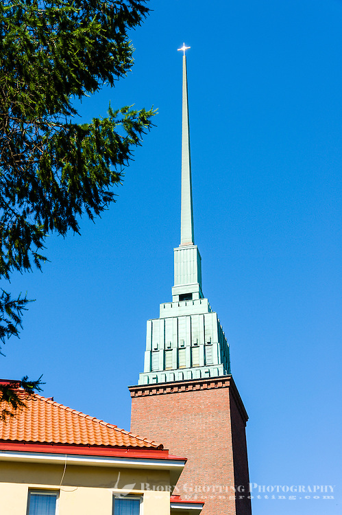 Finland, Helsinki. The tall spire of the Mikael Agricolan Church.