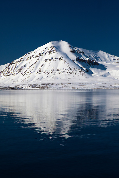 Snow on mountain in Kongsfjord, Ny Alesund, Svalbard