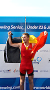 Rotterdam. Netherlands.  Rotterdam. Netherlands.  Gold medalist A Finals,  A Final, Gold Medalist. BEL BM1X.  Niels VAN ZANDWEGHE   2016 JWRC, U23 and Non Olympic Regatta. {WRCH2016}  at the Willem-Alexander Baan.   Thursday  25/08/2016 <br /> <br /> [Mandatory Credit; Peter SPURRIER/Intersport Images] Awards Dock 2016 <br /> <br /> [Mandatory Credit; Peter SPURRIER/Intersport Images]
