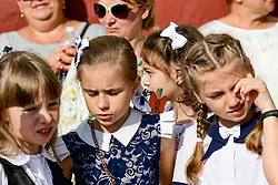 May 24, 2019 - Zaporizhzhia, Ukraine - Schoolgirls attend the last bell ceremony in the yard of public school N110  Zaporizhzhia, southeastern Ukraine, May 24, 2019. The event marks the end of the academic year. Ukrinform. (Credit Image: © Dmytro Smolyenko/Ukrinform via ZUMA Wire)