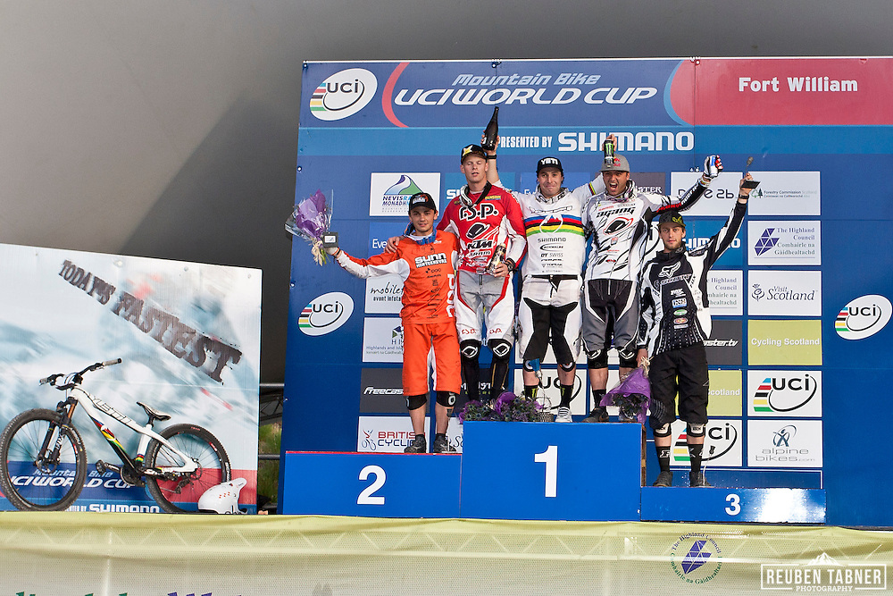 The men's Four Cross (4X) podium at the UCI Mountain Bike World Cup in Fort William, Scotland.
