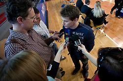 "Mitja Petkovsek with journalists at event ""Slovenian Gymnastics stars"" after the European Championships in Milano, on April 6, 2009, in Hall Slovan, Kodeljevo, Ljubljana, Slovenia. (Photo by Vid Ponikvar / Sportida)"