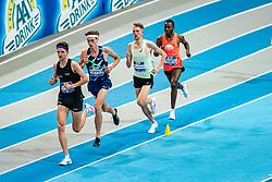 Job IJtsma, Mike Foppen, Tim Verbaandert, Filmon Tesfu in action on the 3000 meter during AA Drink Dutch Athletics Championship Indoor on 21 February 2021 in Apeldoorn.