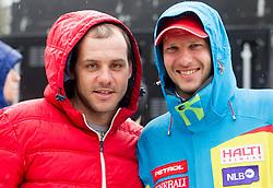 Mitja Dragsic and Andrej Jerman during the 2nd Run of 7th Men's Giant Slalom - Pokal Vitranc 2013 of FIS Alpine Ski World Cup 2012/2013, on March 9, 2013 in Vitranc, Kranjska Gora, Slovenia. (Photo By Vid Ponikvar / Sportida.com)