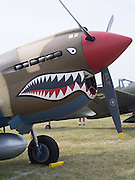 The front end of a P-40 Warhawk on display at the EAA Airventure, Oshkosh, WIsconsin.