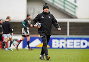 Leicester Tigers Head Coach Steve Borthwick guides the team warm up before a Gallagher Premiership Round 10 Rugby Union match, Friday, Feb. 20, 2021, in Leicester, United Kingdom. (Steve Flynn/Image of Sport)