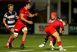 Ryan Burrows of Coventry Rugby is tackled by Alex Lewington of Saracens  - Mandatory by-line: Nick Browning/JMP - 26/02/2021 - RUGBY - Butts Park Arena - Coventry, England - Coventry Rugby v Saracens - Friendly