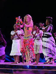 July 11, 2010 - Johannesburg, South Africa - Singer Shakira performs during the closing ceremony before the 2010 FIFA World Cup Final soccer match between Netherlands and Spain at Soccer City Stadium on July 11, 2010 in Johannesburg, South Africa. (Credit Image: © Luca Ghidoni/ZUMApress.com)