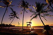 Sunset, Kauna'oa Beach, Mauna Kea resort, island of Hawaii<br />