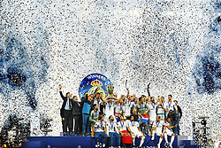 Sergio Ramos of Real Madrid  CF lifts the Cup during the UEFA Champions League final between Real Madrid and Liverpool on May 26, 2018 at NSC Olimpiyskiy Stadium in Kyiv, Ukraine