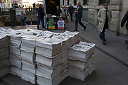 Free Evening Standard newspapers in the City of London, England, United Kingdom.