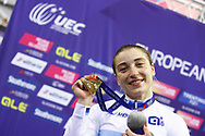 Podium Women 500 mt Time Trial, Daria Shmeleva (Russian Federation) Gold medal, during the Track Cycling European Championships Glasgow 2018, at Sir Chris Hoy Velodrome, in Glasgow, Great Britain, Day 5, on August 6, 2018 - Photo luca Bettini / BettiniPhoto / ProSportsImages / DPPI<br /> - Restriction / Netherlands out, Belgium out, Spain out, Italy out -