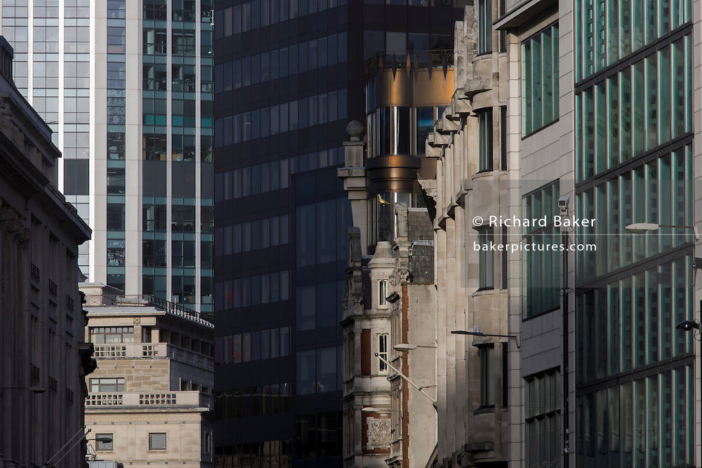 Looking northwards to corporate offices and architecture on Bishopsgate, in the City of London.