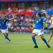MONTPELLIER, FRANCE June 13.  Marta #10 of Brazil celebrates after scoring her sides first goal from the penalty spot during the Australia V Brazil, Group C match at the FIFA Women's World Cup at Stade La Mosson Stadium on June 13th 2019 in Montpellier, France. (Photo by Tim Clayton/Corbis via Getty Images)