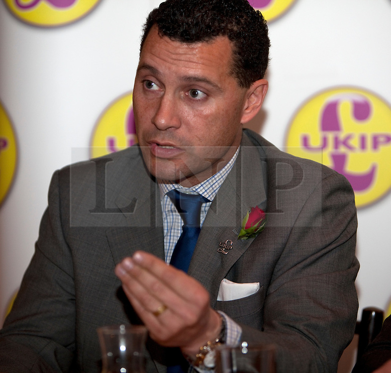 © Licensed to London News Pictures. 23/04/2012. London, U.K..Steven Woolfe, London assembly candidate. UKIP Press Conference with Richard, Earl of Bradford and Mr Peter Stringfellow. Following his announcement that after 32 years of supporting the Conservative Party, Peter Stringfellow is supporting Ukip candidate Richard Bradford in the Hyde Park by election. The press conference was held at Porters Restaurant owned by Richard the Earl of Bradford...Photo credit : Rich Bowen/LNP