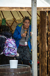 Pictured: The poor weather in the afternoon did not stop the staff att eh Book Festival from making sure visitrs had a good time