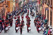 School marching bands join the parade marking the 251st birthday celebration of Mexican Independence hero Ignacio Allende along Zacateros Street January 21, 2020 in San Miguel de Allende, Guanajuato, Mexico. Allende, from a wealthy family in San Miguel played a major role in the independency war against Spain in 1810 and later honored by his home city by adding his name.