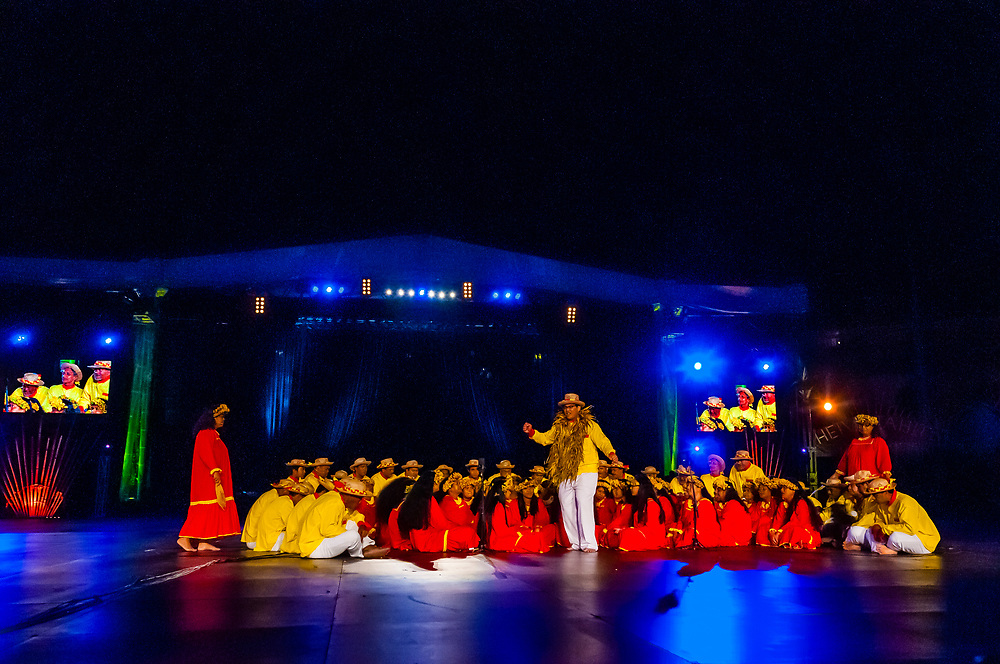 Te Ohi Vaihonuroa choir performing during in the Winners Showcase, the final night of the Heiva i Tahiti (July cultural festival), Place Toata, Papeete, Tahiti, French Polynesia.