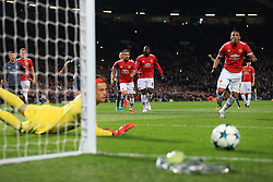 31st October 2017 - UEFA Champions League - Group A - Manchester United v SL Benfica - Anthony Martial of Man Utd reacts after seeing his penalty saved by Benfica goalkeeper Mile Svilar - Photo: Simon Stacpoole / Offside.