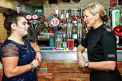Pictured: Cara Teven with Assistant Chief Constable Gillian MacDonald at the launch of a new initiative - Girls Against Spiking. <br /> <br /> Colin Poultney | EEm Thursday 6th December 2018